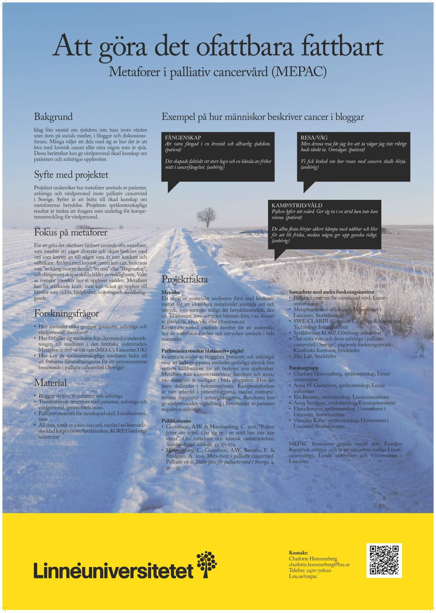 Poster Metaforer i palliativ cancervård