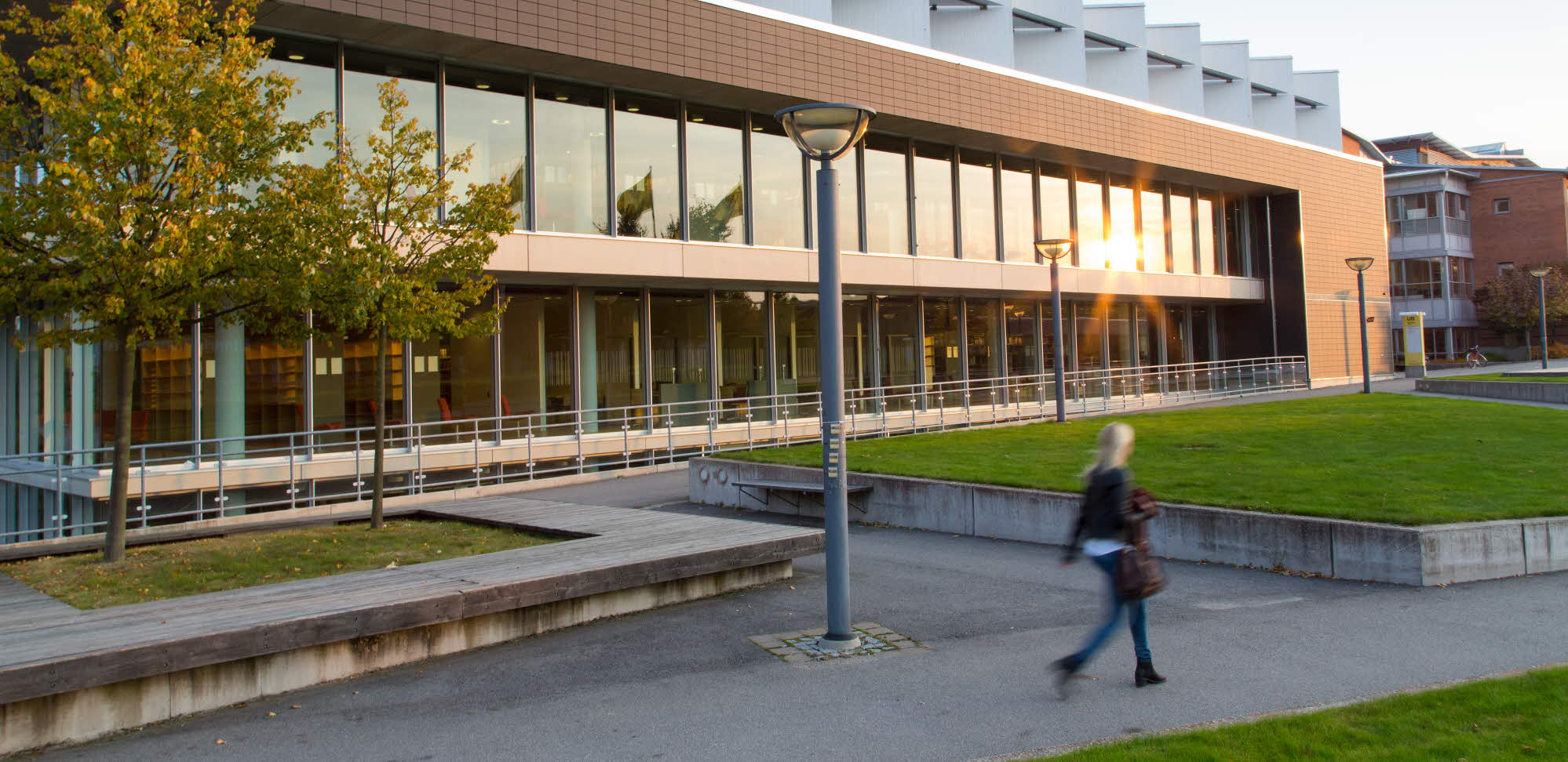Student walking in front of the University Library in Växjö