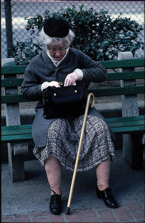 Patricia Moore utklädd till äldre kvinna