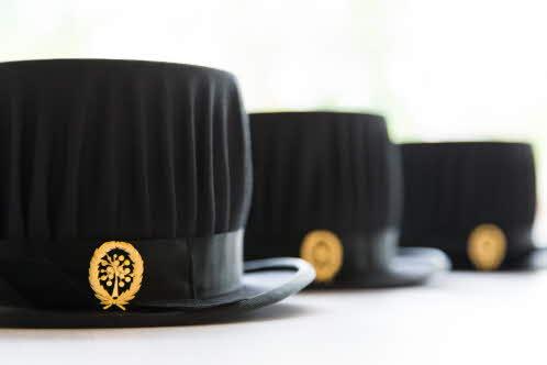 Three doctoral hats