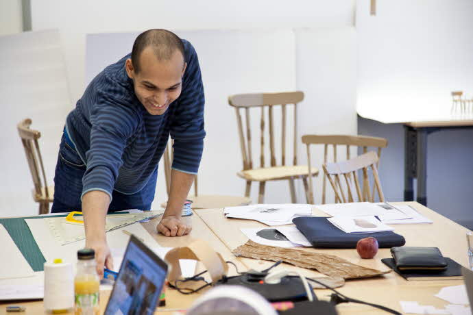 design student in workshop