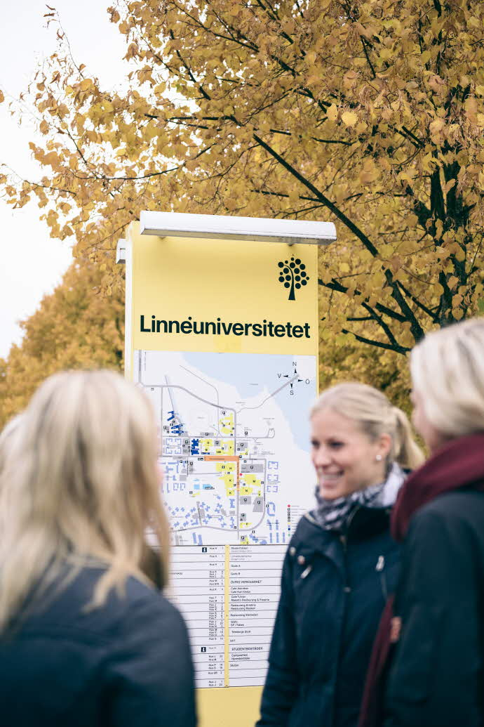Studenter på hösten med Lnu-skylt i bakgrunden