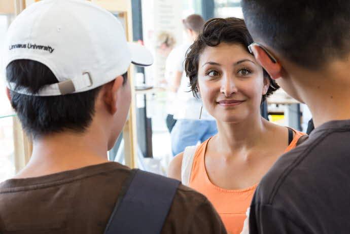 International students in conversation
