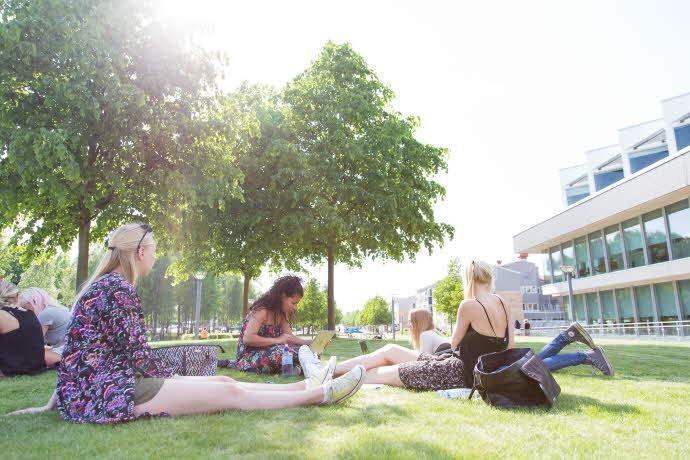 Studenter pluggar i gräset utanför Universitetsbiblioteket