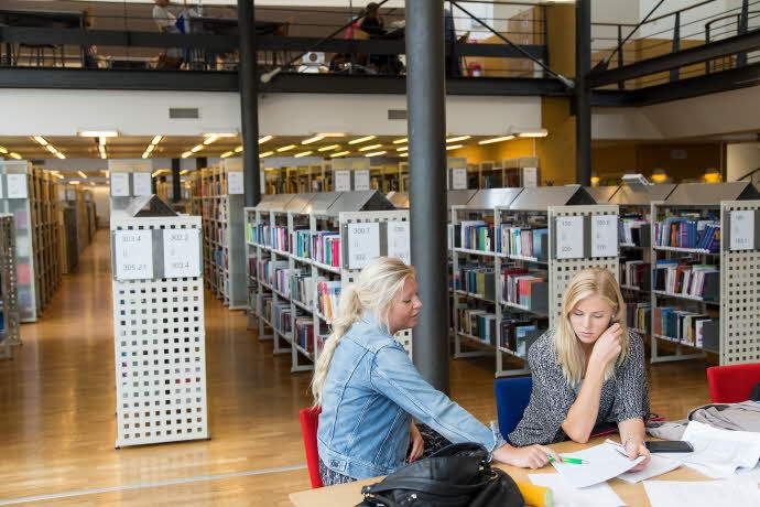 Studenter pluggar Universitetsbiblioteket i Kalmar