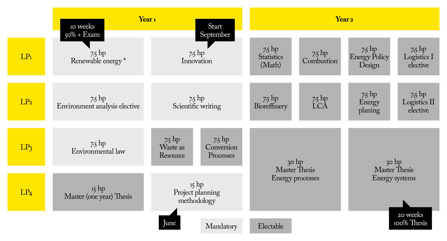 Overview of the programme courses.